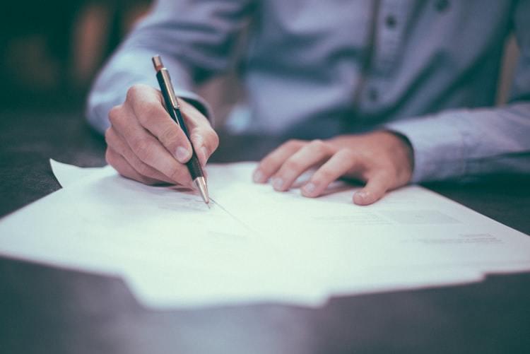 Person translating legal documentation